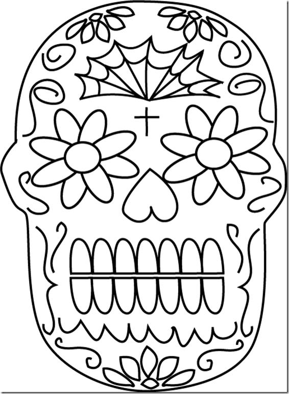 Dibujo Para Colorear De Calaveras De D  A De Muertos